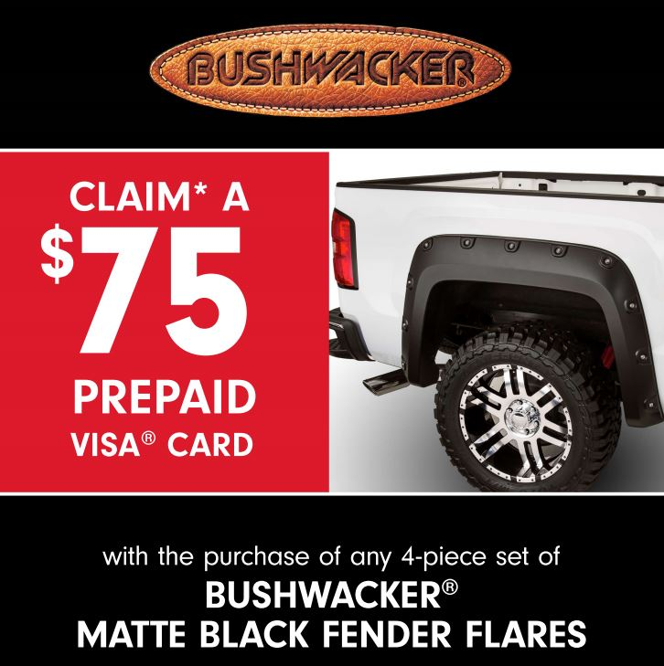 Bushwacker: Get a $75 Prepaid Card with Purchase of Matte-Black Fender Flares