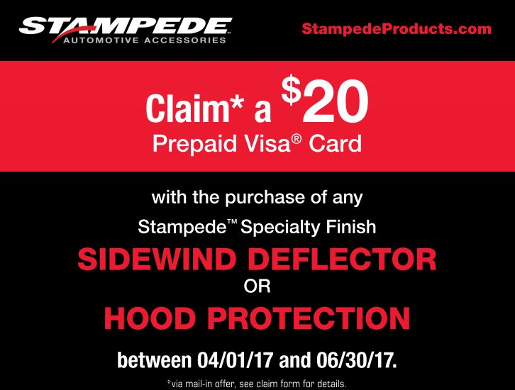 Stampede Automotive Accessories: Get a $20 Prepaid Card with Purchase of Specialty-Finish Sidewind Deflector or Hood Protection