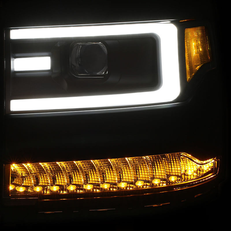 AnzoUSA Plank Style LED Projector Headlights for Silverado 1500