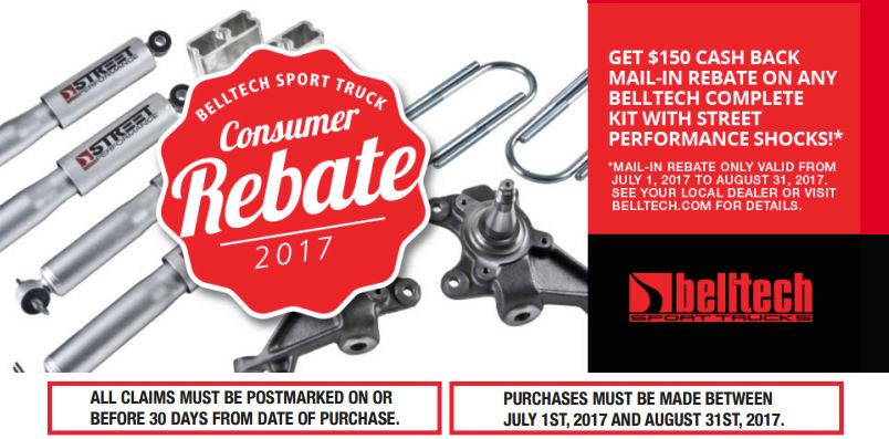 Belltech: $150 Rebate on Any Complete Kit with Street Performance Shocks