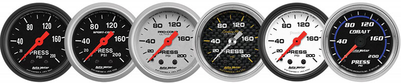 AutoMeter 200 PSI Mechanical Pressure Gauges