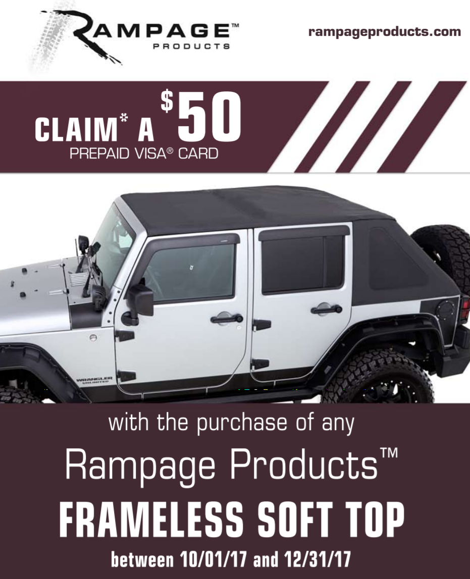 Rampage 50 Prepaid Card on Frameless Soft Top