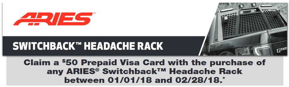 ARIES 25 Prepaid Card on Switchback Headache Rack