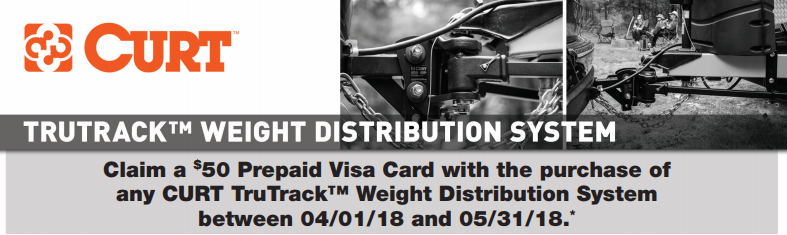 CURT $50 Card on TruTrack Weight Distribution System