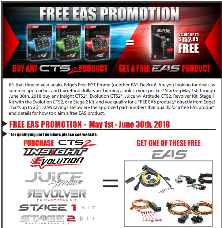 Edge Products: Free EGT/EAS Product on Qualifying CTS2 Purchase