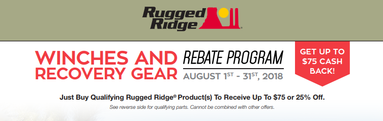 Rugged Ridge Up To 75 Back on Winches and Recovery Gear