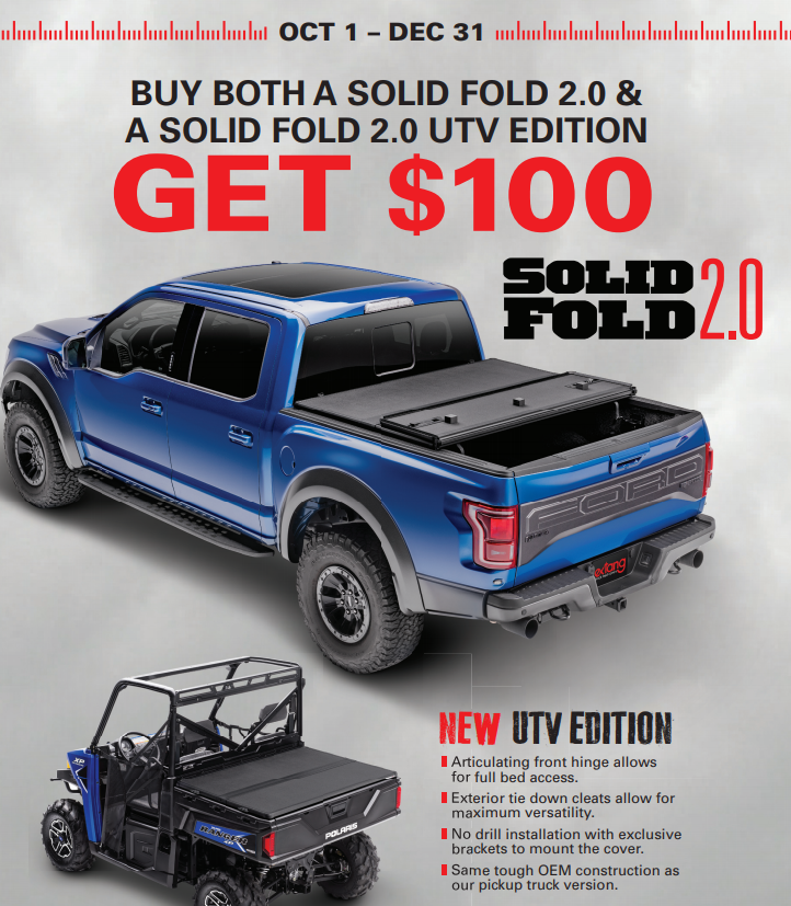 Extang: Get $100 Back When You Buy Solid Fold 2.0 and Solid Fold 2.0 UTV Edition Covers
