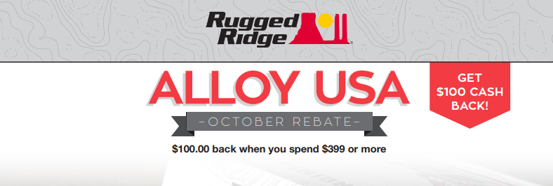 Rugged Ridge: Get $100 Back on Alloy USA Purchases of $399 or More