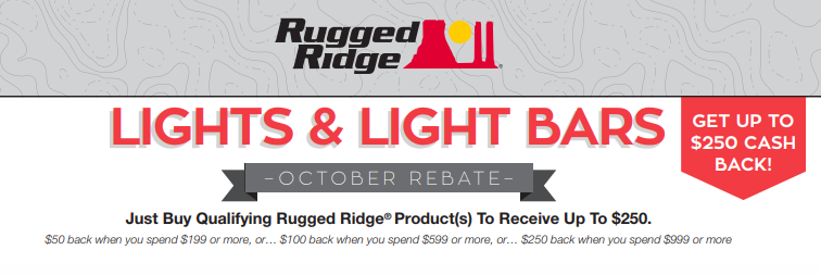 Rugged Ridge: Get Up to $250 Back on Qualifying Light and Light Bar Purchases