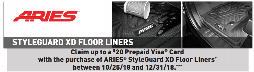 ARIES 20 Card on StyleGuard XD Floor Liners