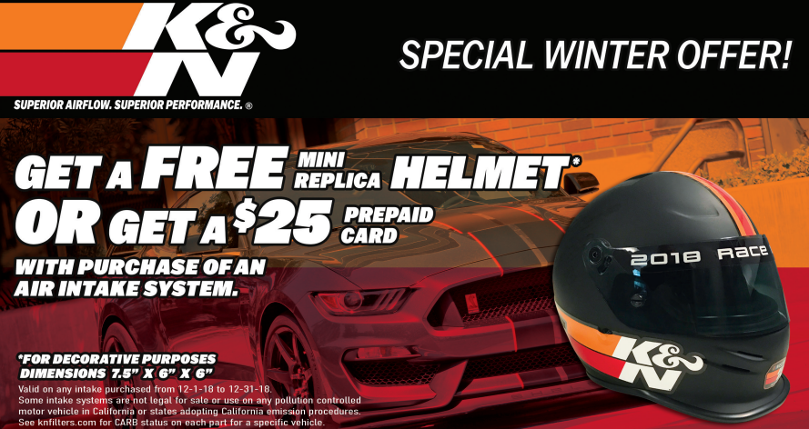 K&N: Get a Free Mini Decorative Replica Helmet or $25 Card with Air Intake System Purchase