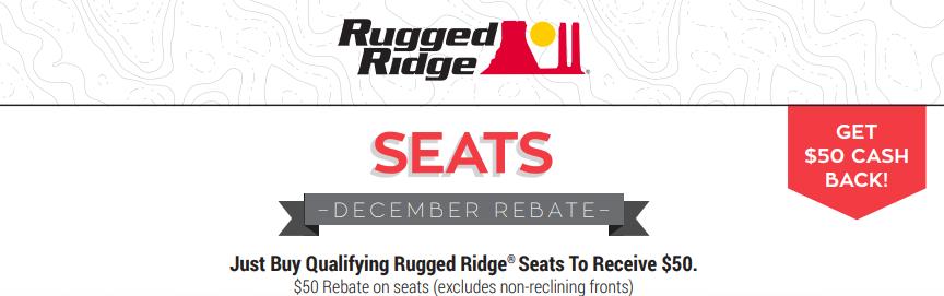 Rugged Ridge $50 Back on Seats