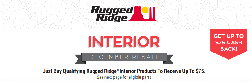 Rugged Ridges Up to $75 Back on Interior Products
