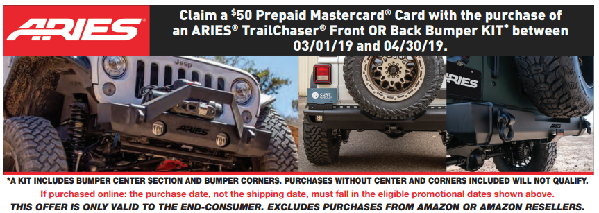 ARIES $50 Back on TrailChaser Front or Rear Bumper Kit