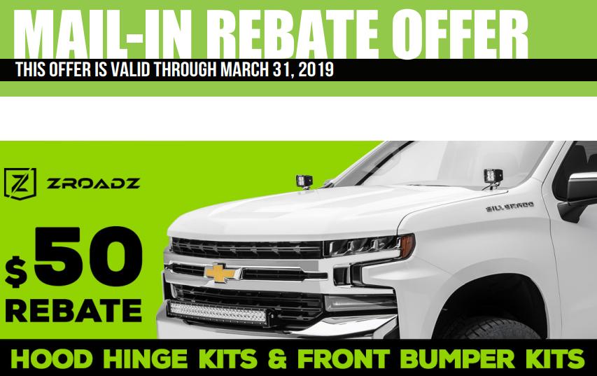 ZROADZ $50 Back on Hood Hinge and Front Bumper Kits