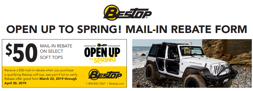 Bestop: Get $50 Back on Qualifying Soft Tops for Jeep—NOW UNTIL 5/31!