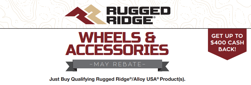 Rugged Ridge Get Up to $400 Back on Wheels and Accesssories