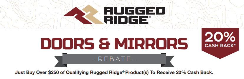 Rugged Ridge: Get 20% Back on Qualifying Door and Mirror Purchases of at Least $250